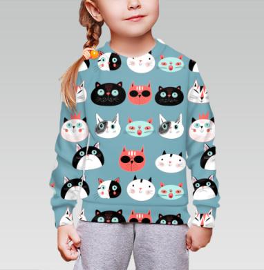 Cвитшот детский без капюшона (полная запечатка) - Портреты котов