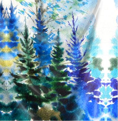 Хвойный синий лес - Печать на текстиле, новинки