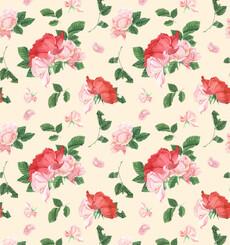 Розовые розы на кремовом фоне - розовый - Коллекции
