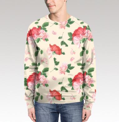 Розовые розы на кремовом фоне, Свитшот мужской без капюшона (полная запечатка)