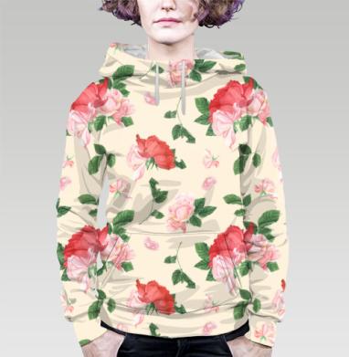 Розовые розы на кремовом фоне, Толстовка женская с карманом (полная запечатка)