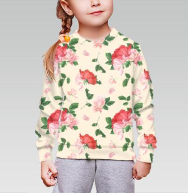 Розовые розы на кремовом фоне, Cвитшот детский без капюшона (полная запечатка)