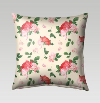 Розовые розы на кремовом фоне, Подушка