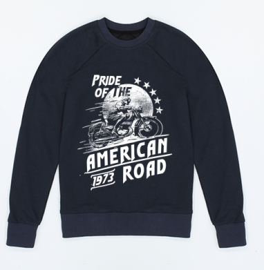 Pride of the American Road, Свитшот мужской индиго 340гр, теплый