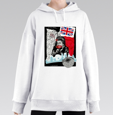 LONDONQUEEN, Hoodie Mjhigh Long White