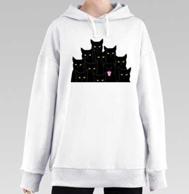 Котики detected, Hoodie Mjhigh Long White