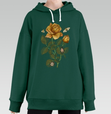 Fantastic flower, Hoodie Long Oversize Green
