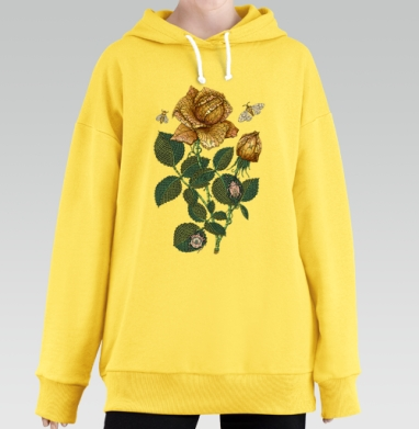 Fantastic flower, Hoodie Long Oversize Yellow