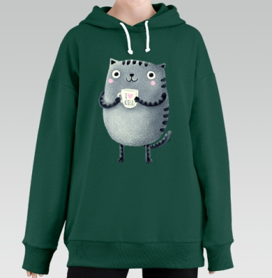 Кот I♥kill, Hoodie Long Oversize Green