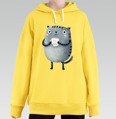 Кот I♥kill, Hoodie Long Oversize Yellow