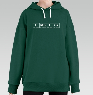 УМНИЦА, Hoodie Long Oversize Green