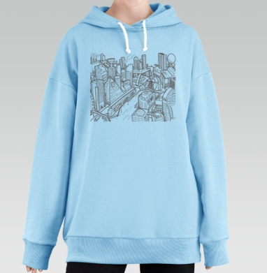 Город, Hoodie Long Oversize Blue