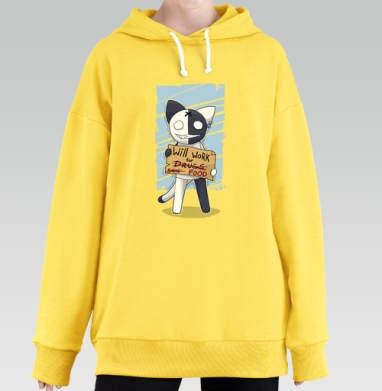 Will work for..., Hoodie Long Oversize Yellow