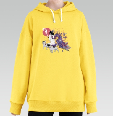 Dogs-guide, Hoodie Long Oversize Yellow