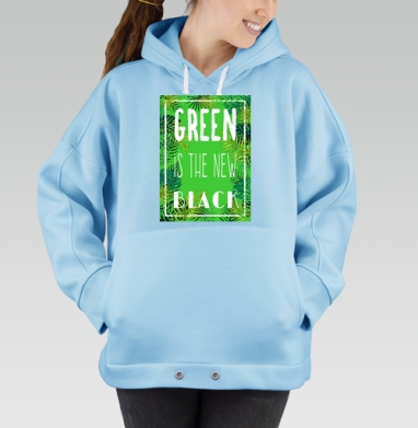 Green is the new black, Hoodie Oversize Blue, утепленная