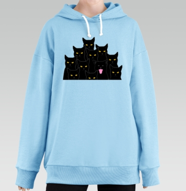 Котики detected, Hoodie Long Oversize Blue