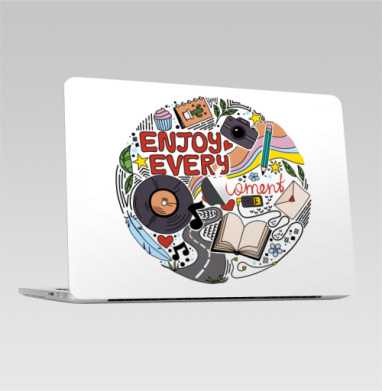Enjoy every moment - Наклейки на 2016-2018 – Macbook 12  Retina (с яблоком)
