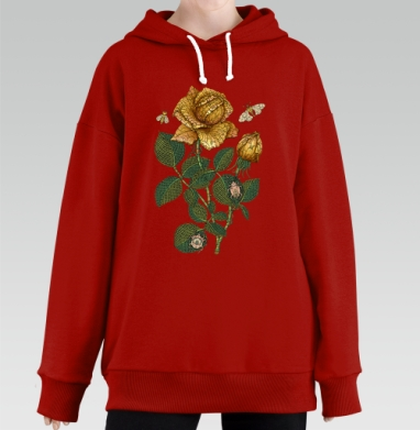 Fantastic flower, Hoodie Long Oversize Red