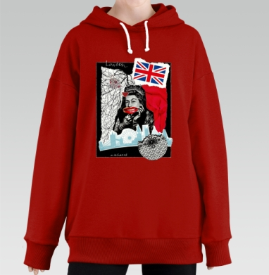 LONDONQUEEN, Hoodie Long Oversize Red